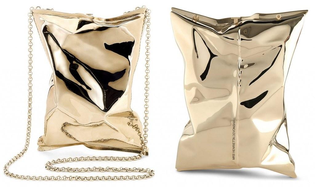 gold crisp packet clutch