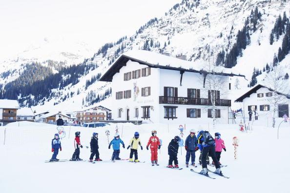 A childrens ski school at the Austrian ski holiday resort of Lech Am Alberg