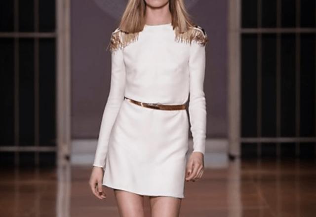 Silk Short Dress With Epaulettes