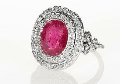 Burmese Ruby Platinum Ring, Vintage