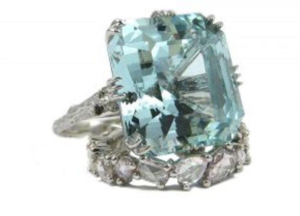 Small Twig Aquamarine Ring by K. Brunini Jewels